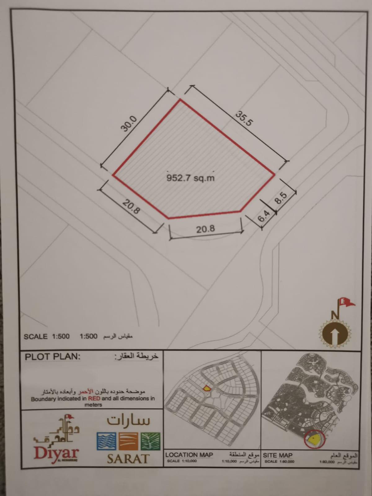 For sale residential land in Diyar Al Muharraq. Ref: DIY-MH-026