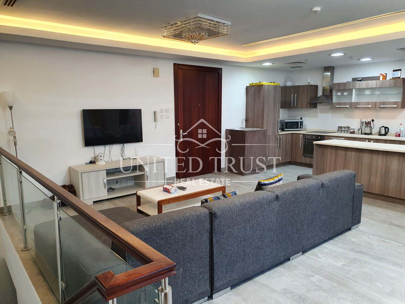 For rent a flat Amwaj prime location modern.fully furnished sea view. Duplex Ref: AMW-AB-034